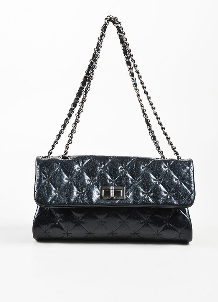 Black Chanel Quilted Glazed Crackled Leather Mademoiselle Chain Strap Bag Frontview