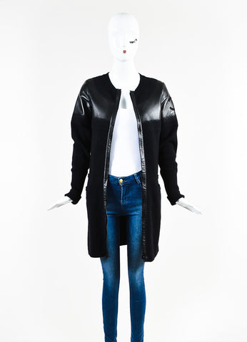 Chanel Black Wool and Lambskin Trim Gradient Blend 'CC' Patch Sweater Jacket  Frontview