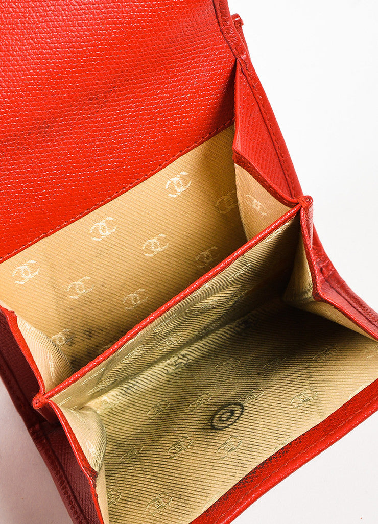 Red Chanel Leather Gold Toned Metal 'CC' Flap Top Compact Wallet Interior 2