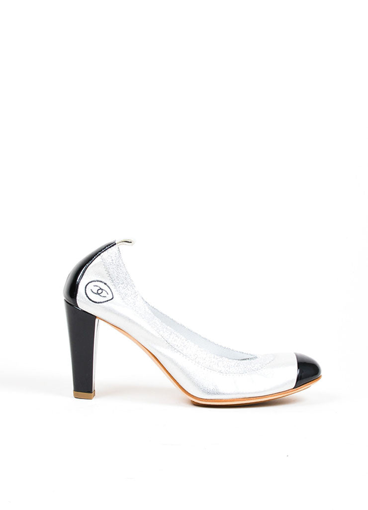 Silver Metallic and Black Chanel Patent Leather Cap Toe 'CC' High Heel Pumps Sideview