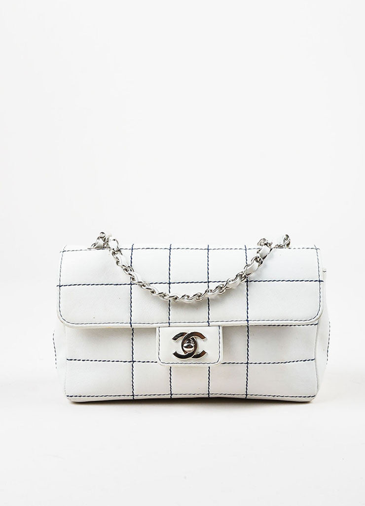 Chanel White Leather Navy Contrast Stitch Shoulder Flap Bag Frontview