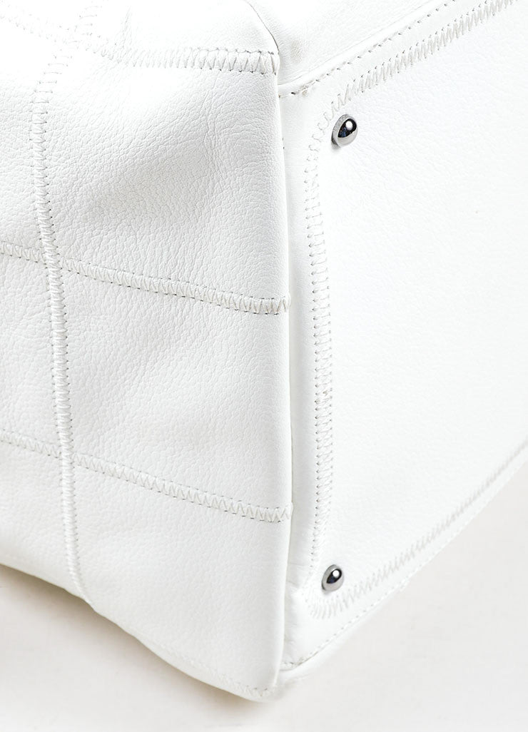 "White Pebbled Leather Quilted Chanel ""CC"" Zip Satchel Bag Detail"