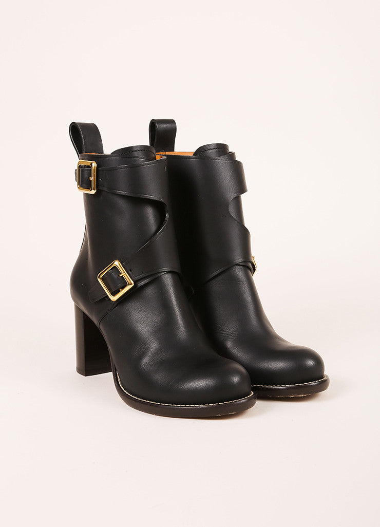 "Chloe New In Box Black Leather Wrap Buckle ""Toscano"" Ankle Boots Frontview"