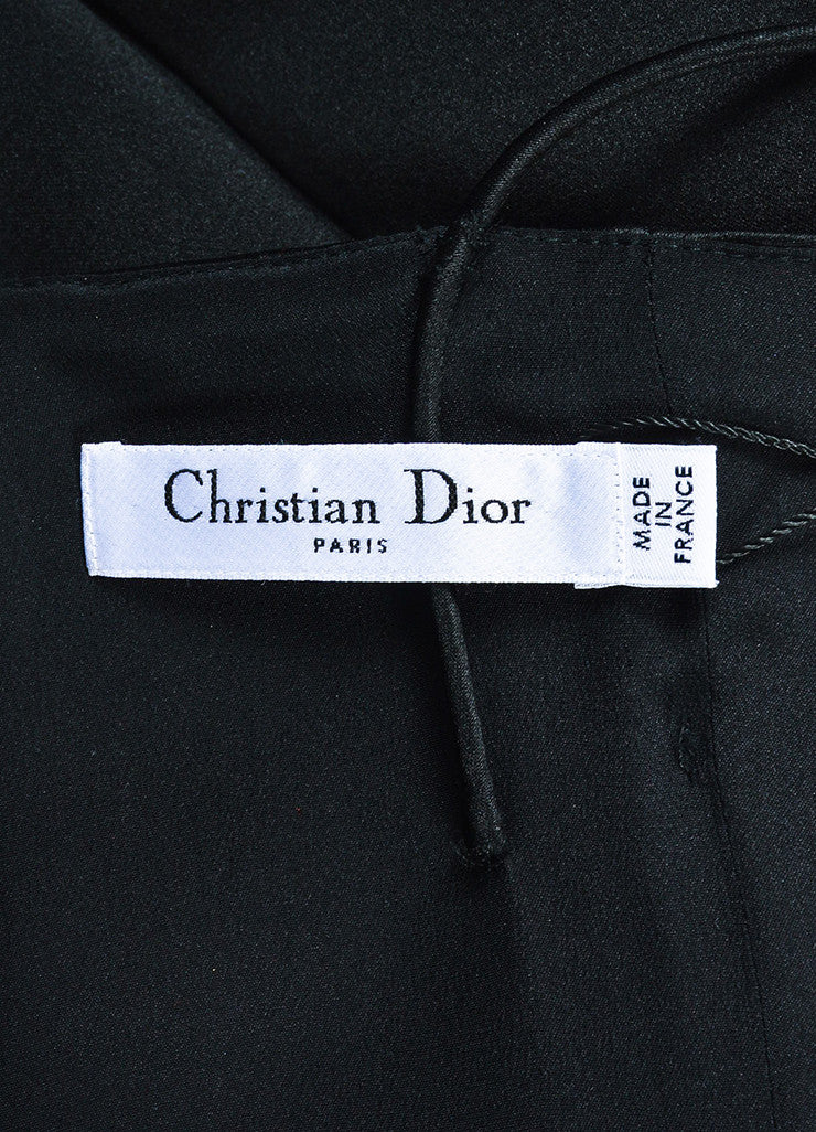 Christian Dior Black Silk Spaghetti Strap Fit and Flare Structured Dress Brand