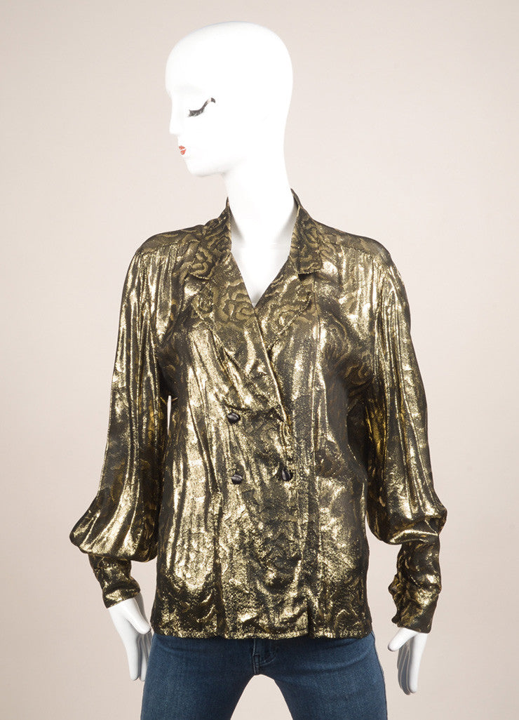 Christian Dior Gold and Black Metallic Floral Print Long Sleeve Blouse Frontview