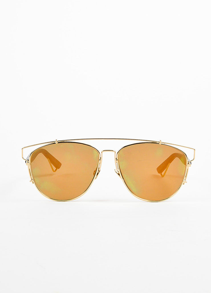 "Christian Dior Gold Toned Black and Blue Mirrored ""Technologic"" Aviator Sunglasses Frontview"