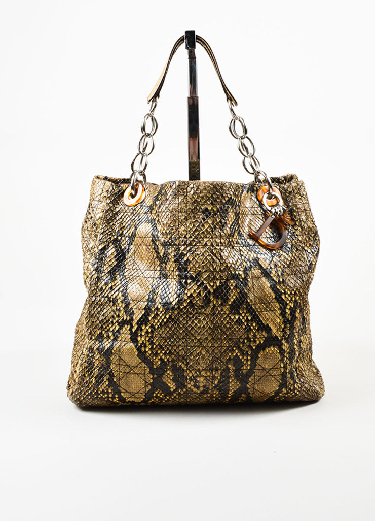 Christian Dior Beige Python Cannage Stitch Tote Bag Frontview