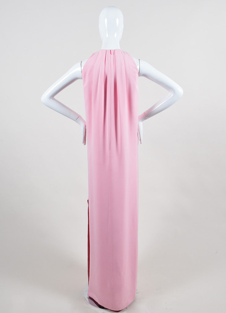 Pink Christian Dior Pleated Neck Side Slit Sleeveless Floor Length Gown Backview