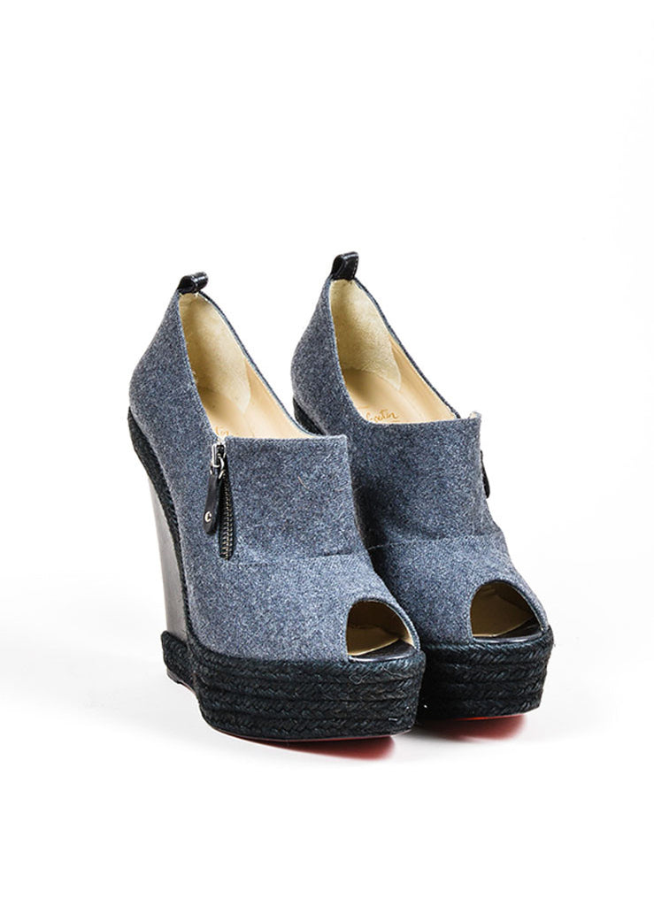 black spiked christian louboutin sneakers - christian louboutin peep-toe wedges Grey woven | cosmetics digital ...