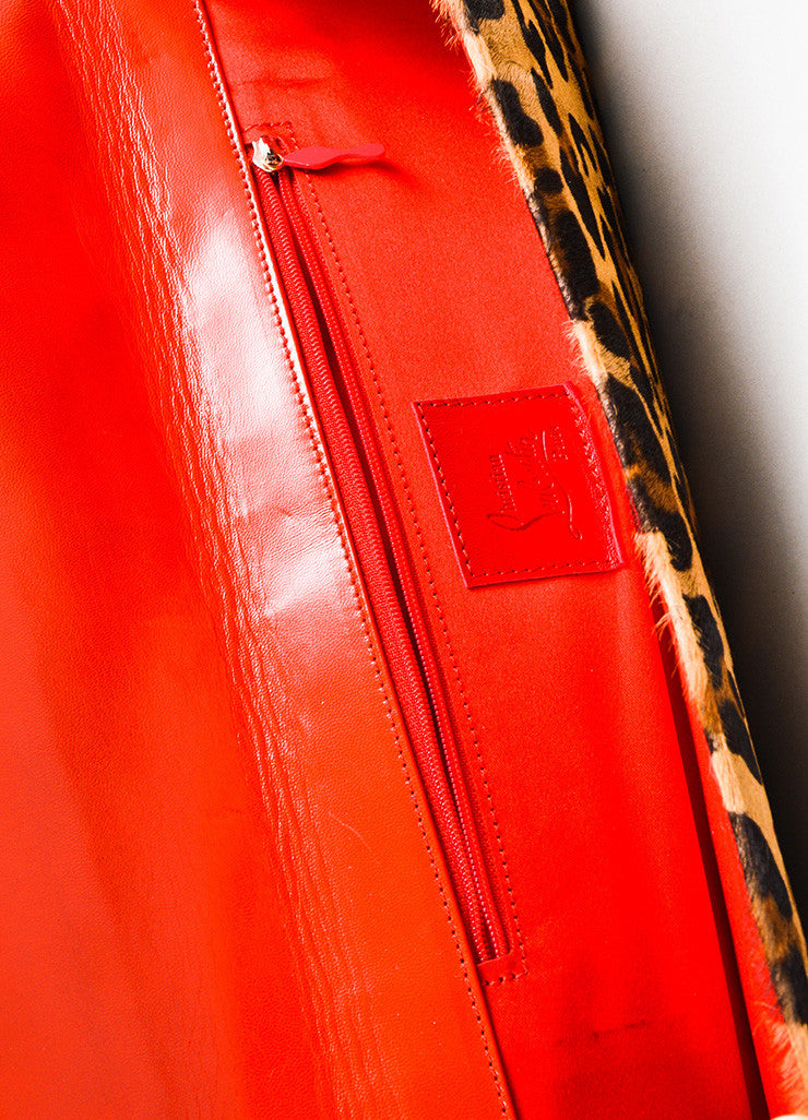 Christian Louboutin Tan, Brown, and Red Pony Hair Leather Leopard Print Long Clutch Bag Interior