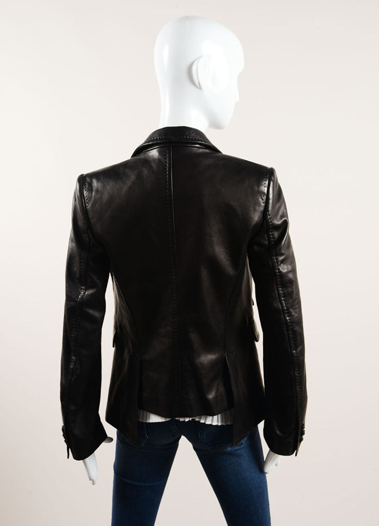 DSquared Black Leather Stitched Detail Blazer Jacket Backview