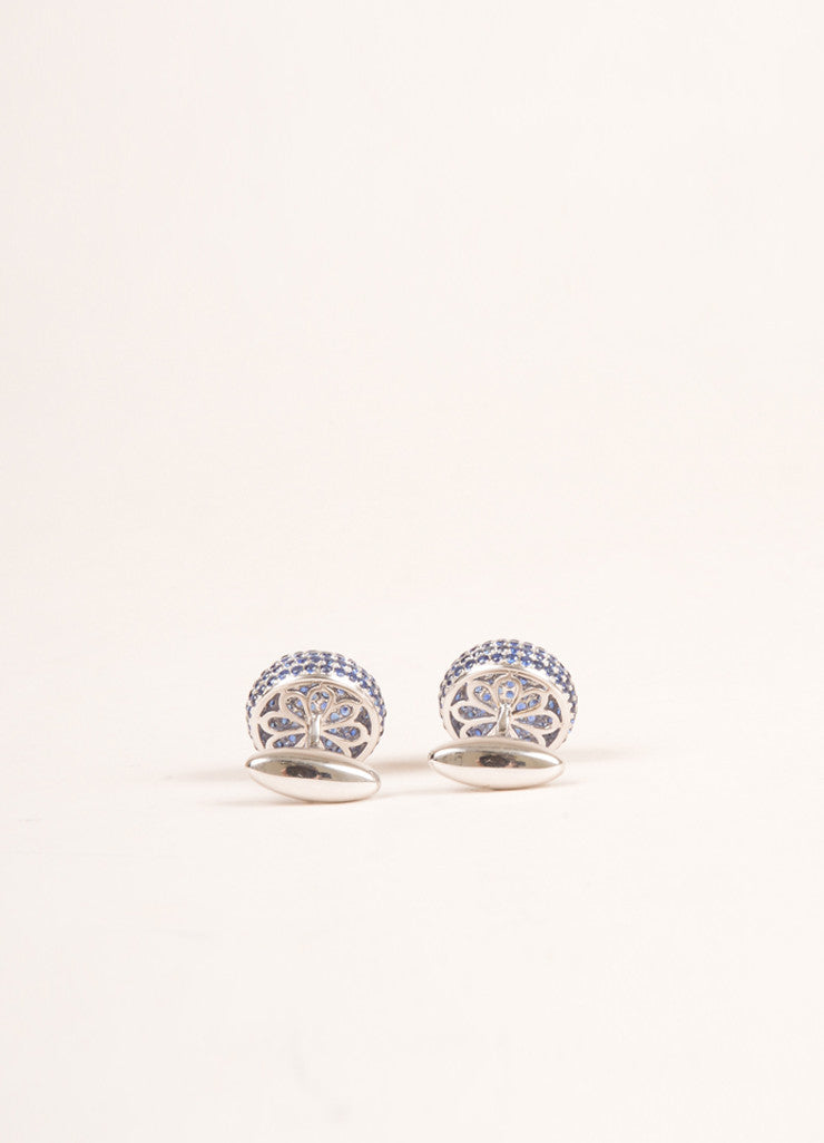 Dana Rebecca 14K White Gold and Blue Rhinestone Cufflinks Backview