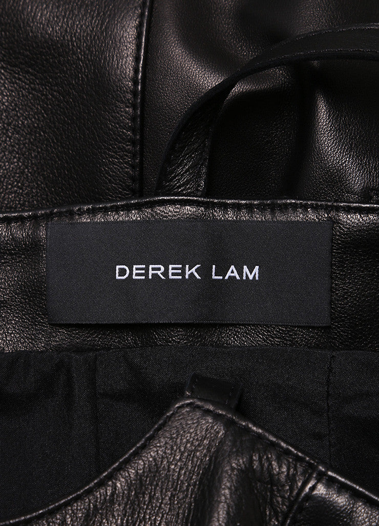 Derek Lam Black Leather Spaghetti Strap Dress Brand