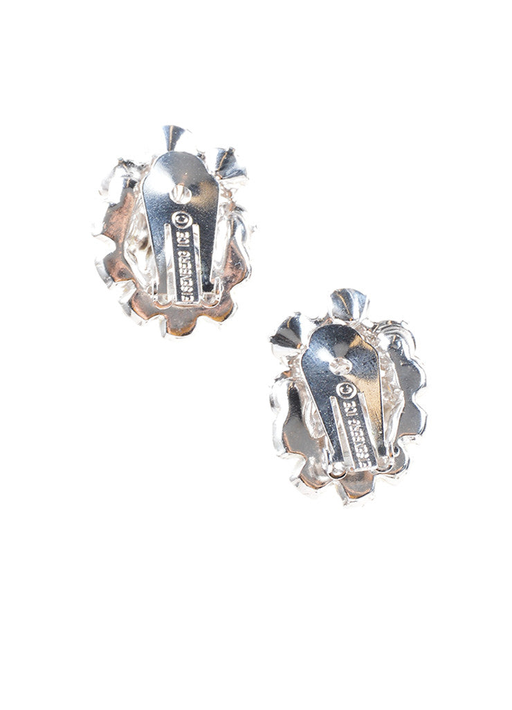 Eisenberg Ice Silver Toned Rhinestone Cluster Embellished Earrings Backview