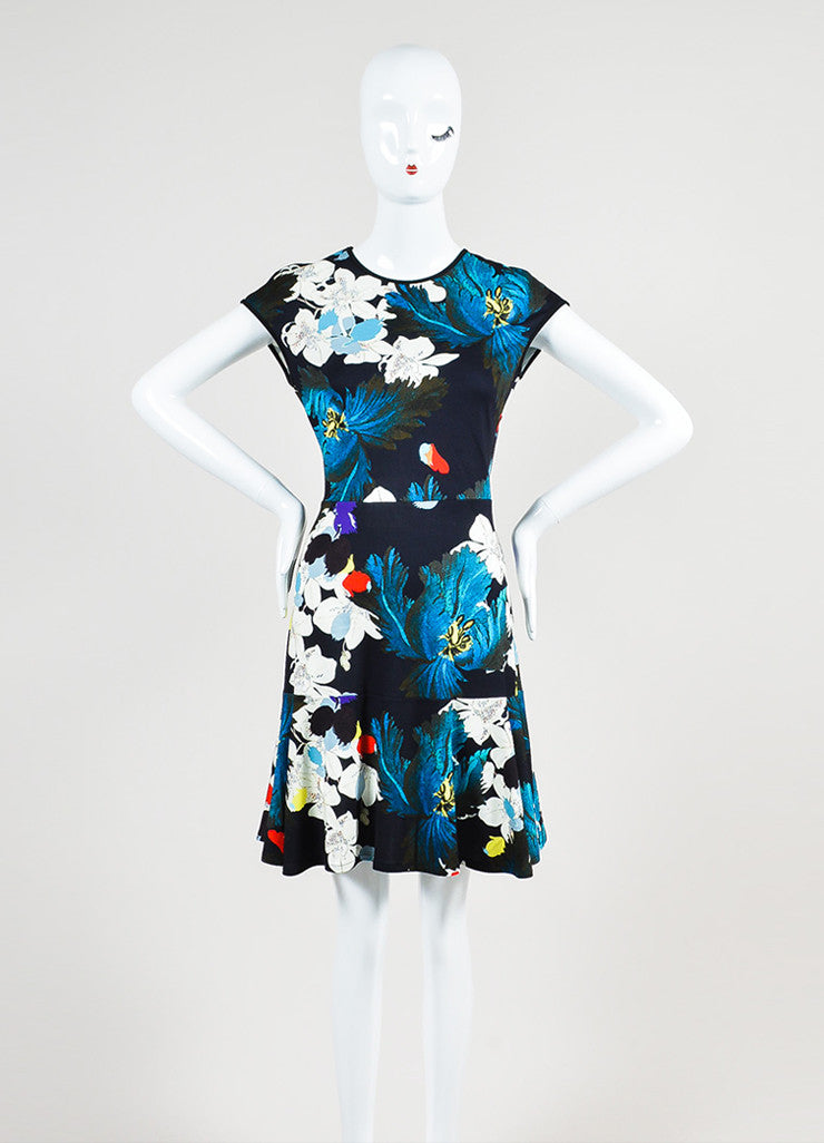 "Multicolor Erdem Jersey Floral ""Darlina"" Cap Sleeve Dress Frontview"