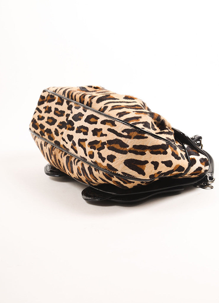 "Fendi Black and Brown Patent Leather Leopard Pony Hair ""B."" Double Buckle Bag Bottom View"