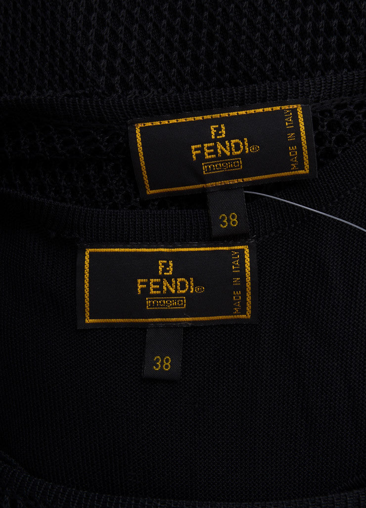 Fendi Black Woven Mesh Short Sleeve Scoop Neck Maxi Dress Brand