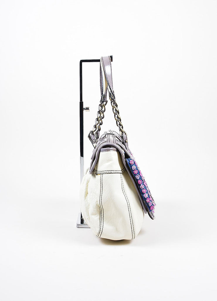 Fendi Cream, Grey, and Purple Leather Floral Embellished 'B' Shoulder Bag Sideview