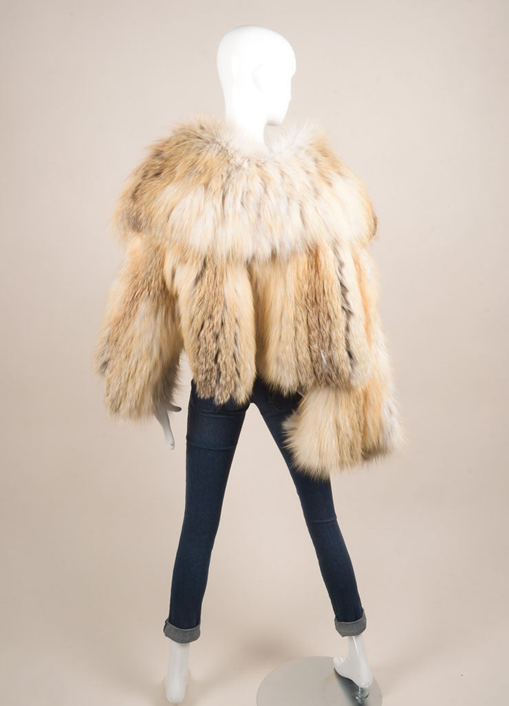Fendi Cream, Tan, and Grey Flared Sleeve Crop Waist Fur Jacket Backview