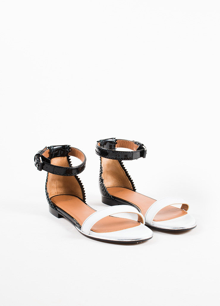 "Givenchy Black and White Patent Leather Ankle Strap Flat ""Coroline"" Sandals Frontview"