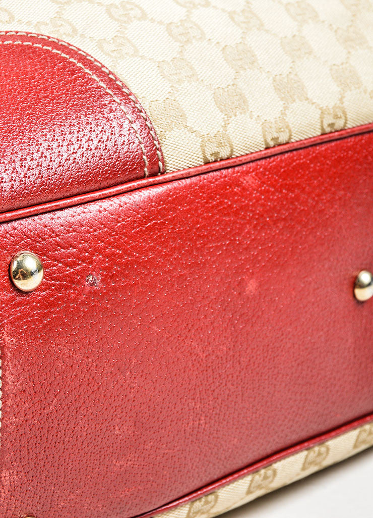 "Beige and Red Gucci Canvas and Leather Monogram ""Princy"" Tote Bag Detail 2"