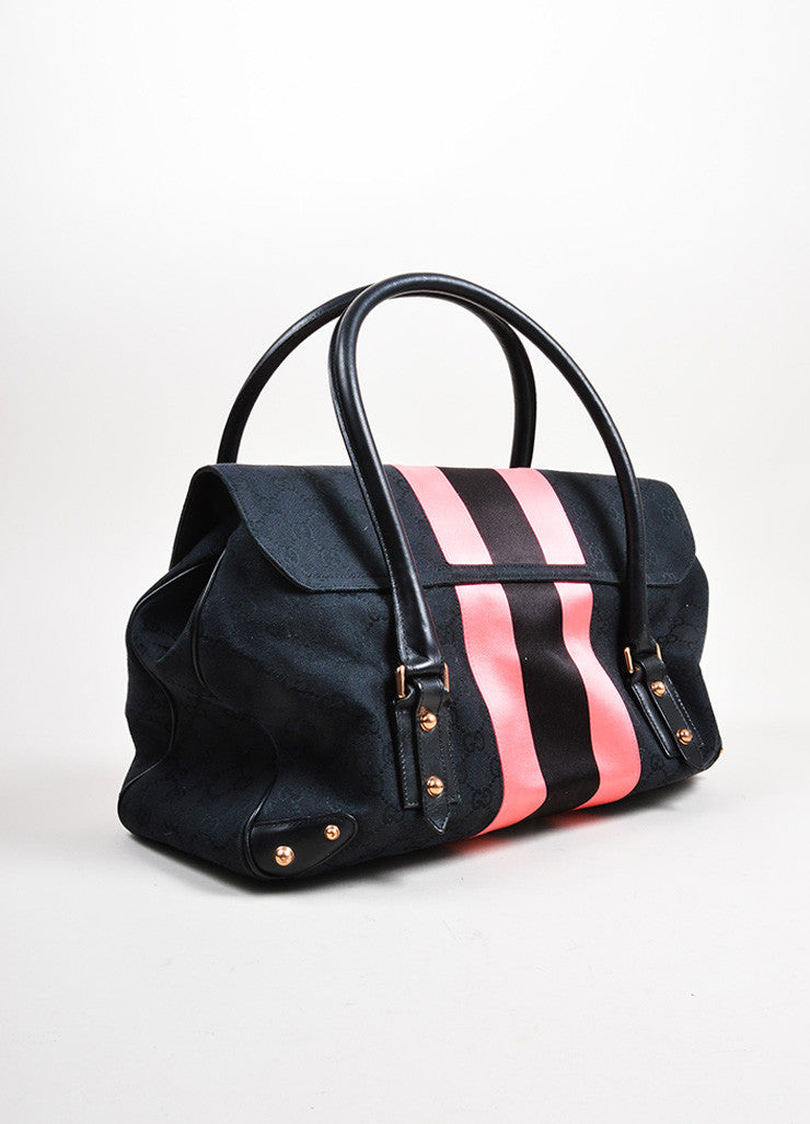 Black and Pink Gucci Canvas Monogram Horsebit Flap Satchel Bag Sideview