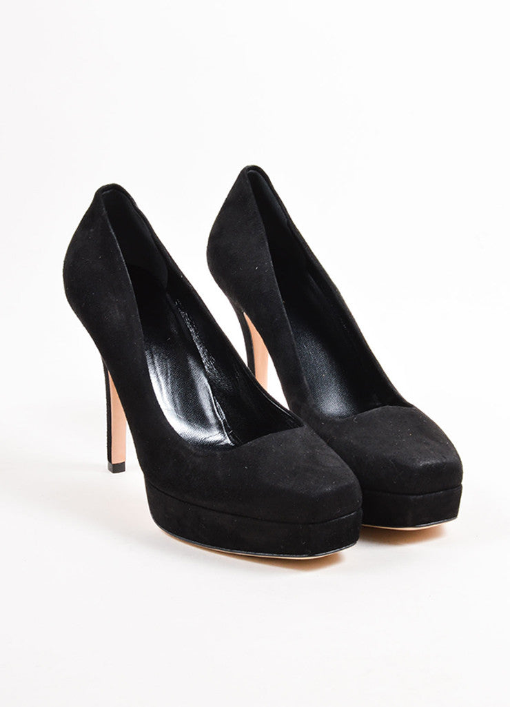 Gucci Black Suede Square Toe Platform Pumps Frontview