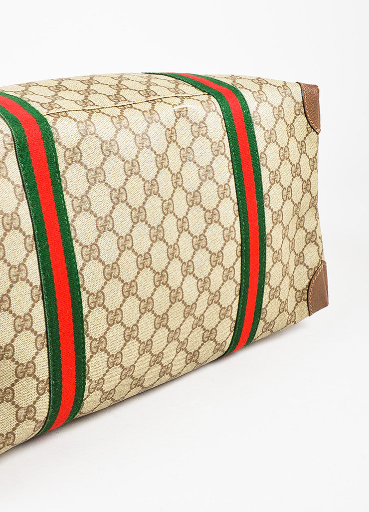 Gucci Brown, Red, and Green Monogram Coated Canvas Striped Zip Tote Bag Bottom View