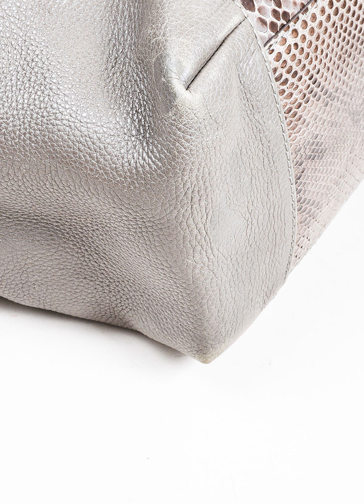 "Grey Gucci Leather Python Horsebit ""Greenwich"" Shoulder Bag Detail"