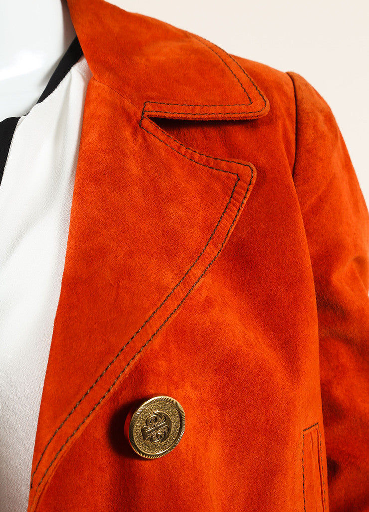 Gucci Orange Suede Leather Long Sleeve Double Breasted Pea Coat Detail