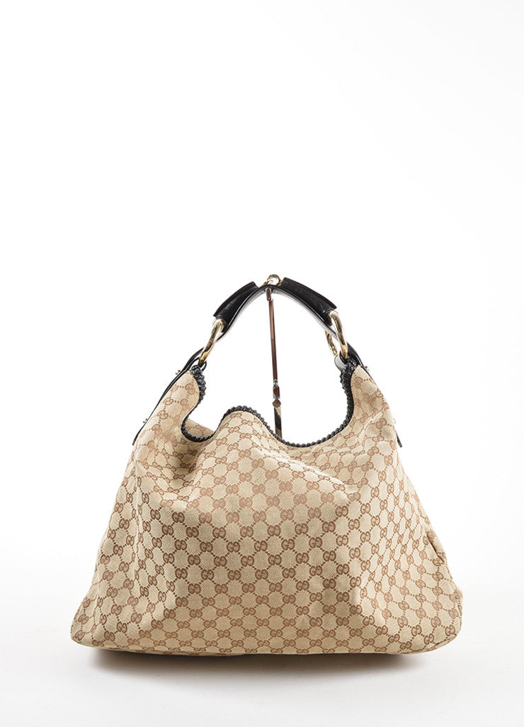 Gucci Tan and Brown Monogram Canvas and Leather Horsebit Large Hobo Bag Frontview