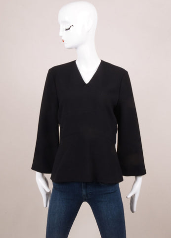 "Hellessy New With Tags Black Wool Ribbed Three Quarter Sleeve ""Miki"" Top Frontview"