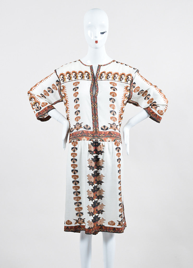 "Ecru, Black, and Brown Isabel Marant Printed Mini Shift ""Sandrine"" Dress Frontview"