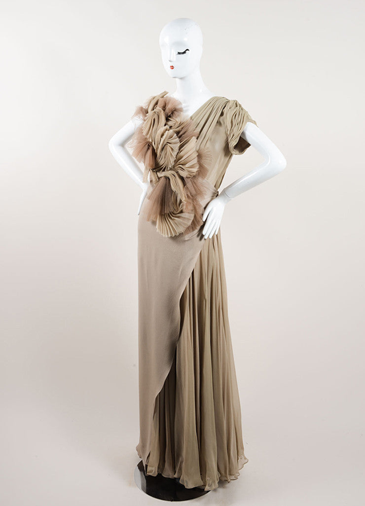 J. Mendel Taupe Silk Sleeveless Open Back Pleated Chiffon Detail Gown Sideview