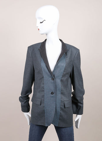 "Jil Sander New With Tags Blue and Grey Wool and Cashmere Buttoned ""Hopkins"" Blazer Frontview"