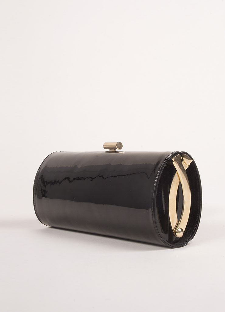 Jimmy Choo Black Patent Leather Evening Clutch Bag Sideview
