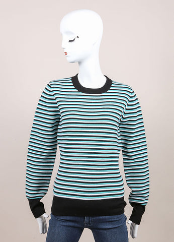 "Jonathan Saunders New With Tags Aqua, Black, and White Stripe Wool ""Pye"" Long Sleeve Sweater Frontview"