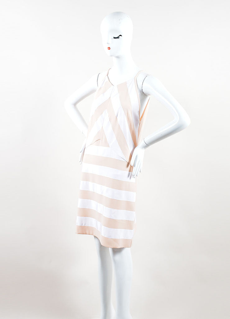 Kenzo Peach, Nude and White Crepe Ribbon Striped Sleeveless Dress Side