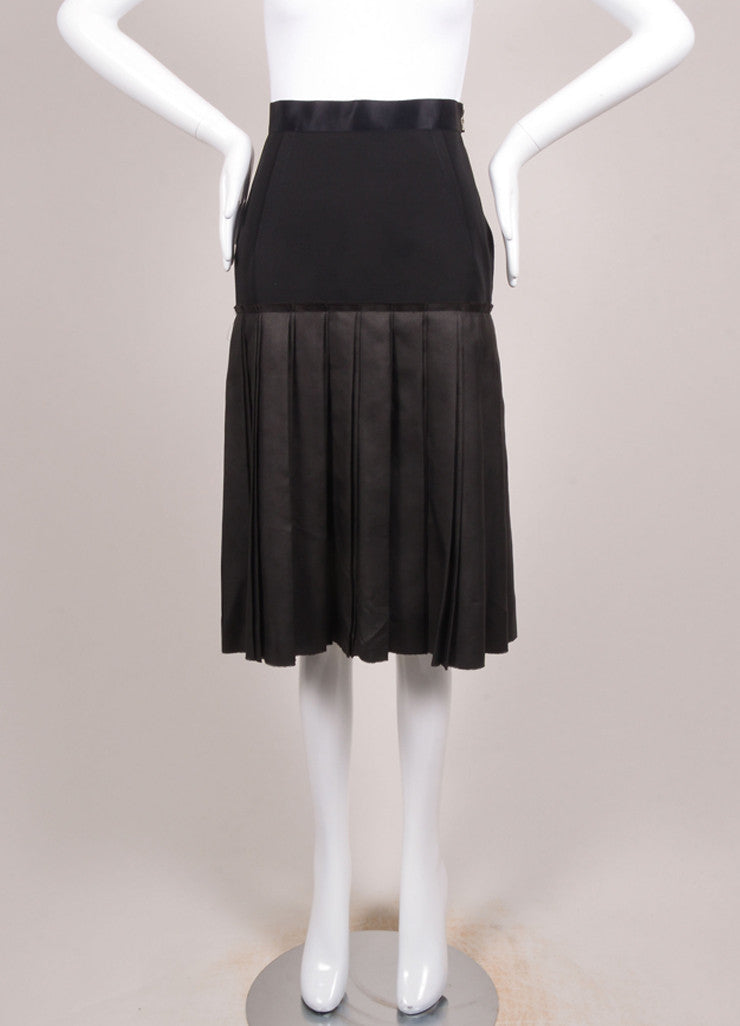 Lanvin Black Double Knife Pleated Knee Length Wool and Silk Skirt Frontview