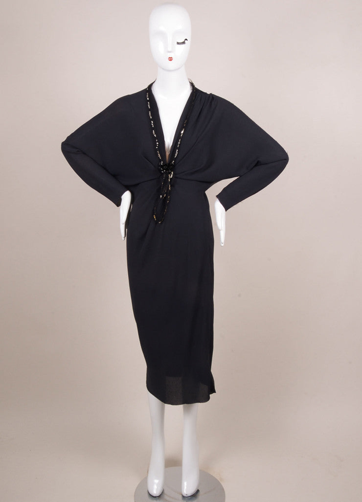 Lanvin Navy Crepe Beaded Jewel Embellished Mesh Trim Long Sleeve Dress Frontview