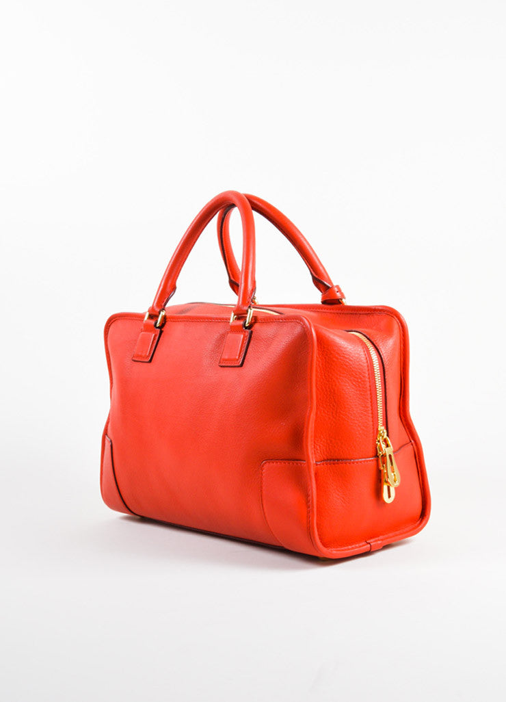 "Loewe Red Leather Limited Edition ""Amazona 36"" Satchel Bag Sideview"