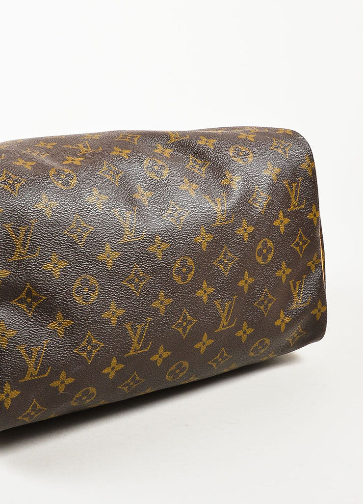 "Brown and Tan Louis Vuitton Coated Canvas Monogram ""Speedy 30"" Satchel Bag Bottom View"