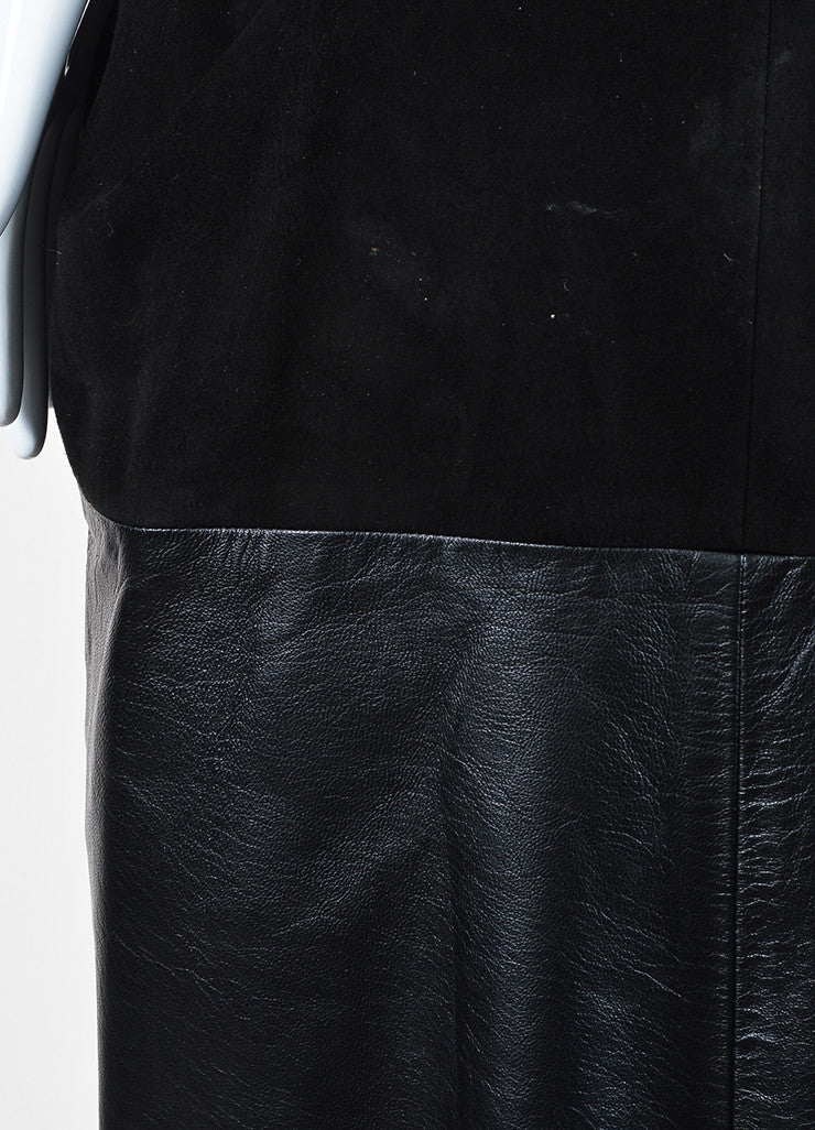 Black Louis Vuitton Leather Suede Panel Sleeveless Dress Detail
