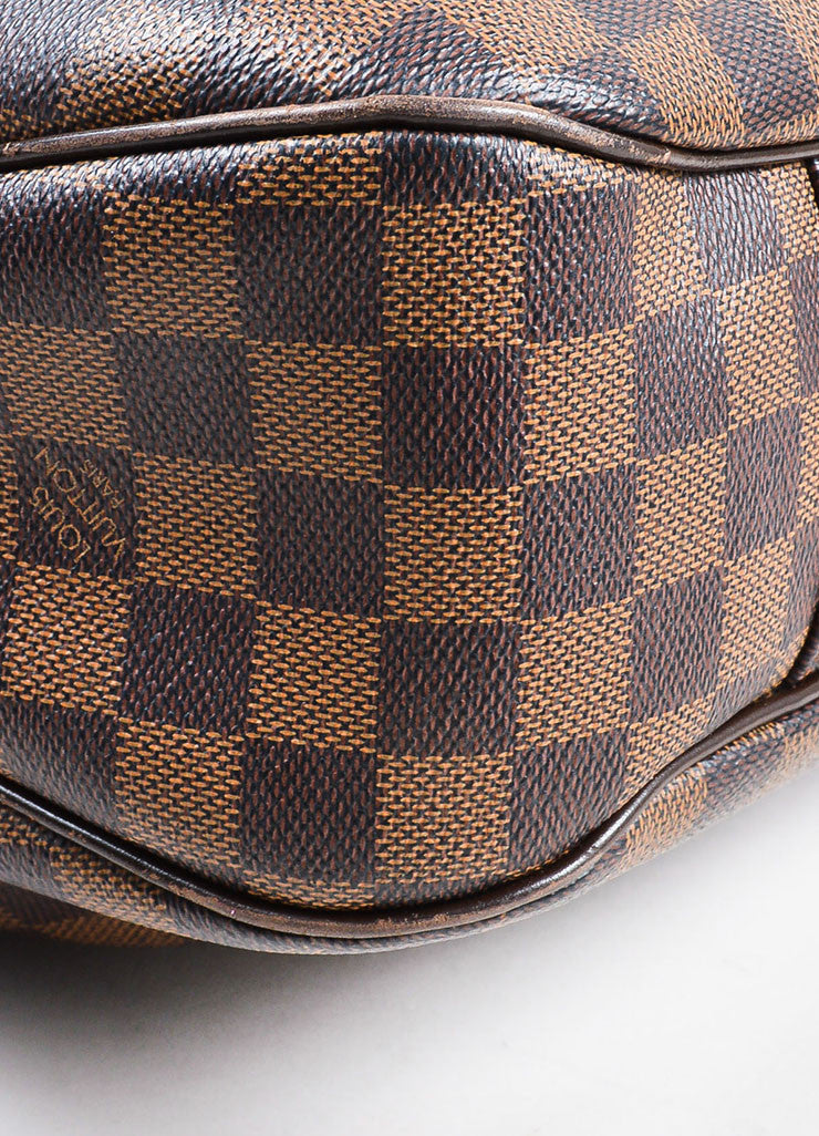 "Louis Vuitton Brown ""Ebene Damier"" Coated Canvas Checkered ""Evora MM"" Tote Bag Detail"