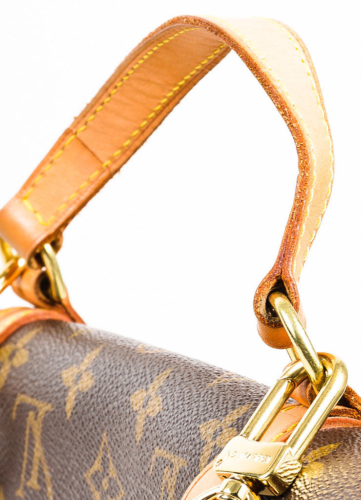 "Louis Vuitton Brown and Tan Coated Canvas Leather Monogram ""Marelle Sac a Dos"" Bag Detail 2"