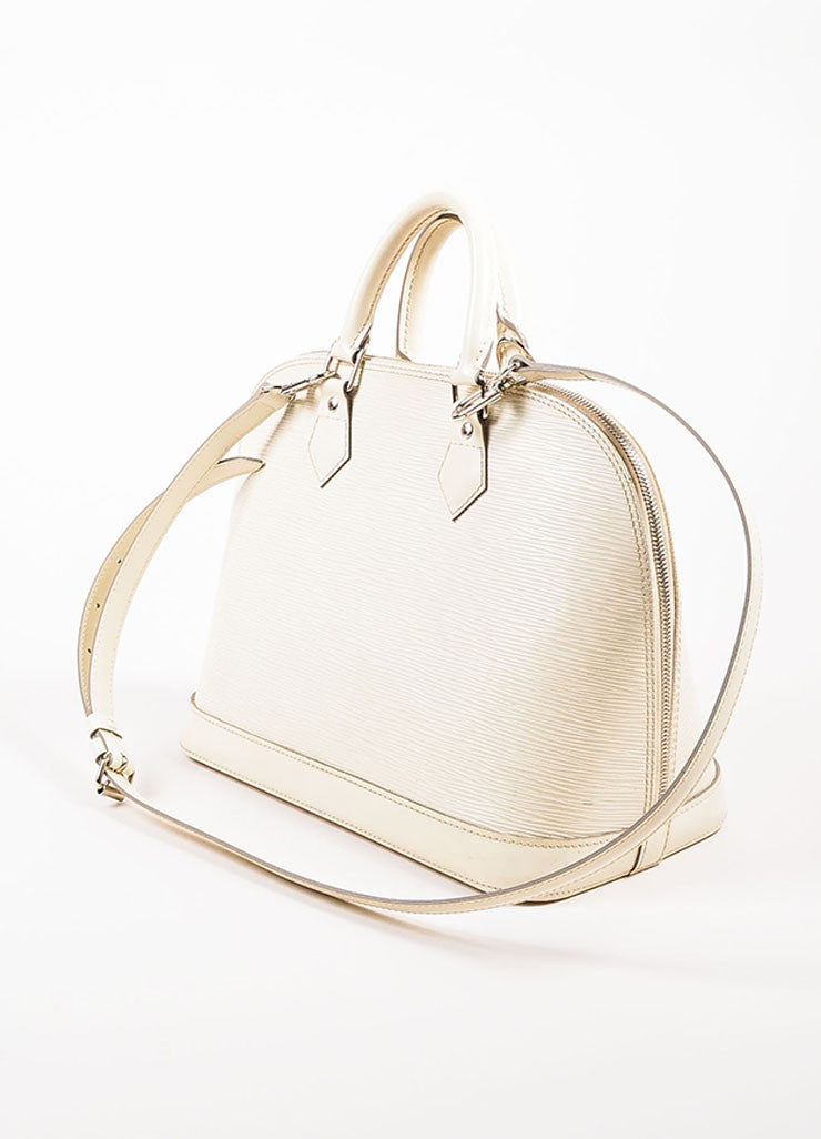 "Louis Vuitton Cream Epi Leather ""Alma PM"" Structured Bag Sideview"