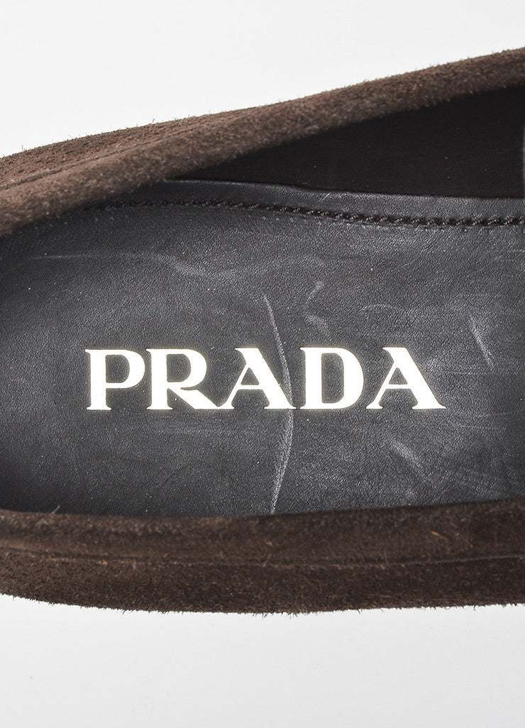 Men's Brown Prada Suede Perforated Buckle Loafers Brand