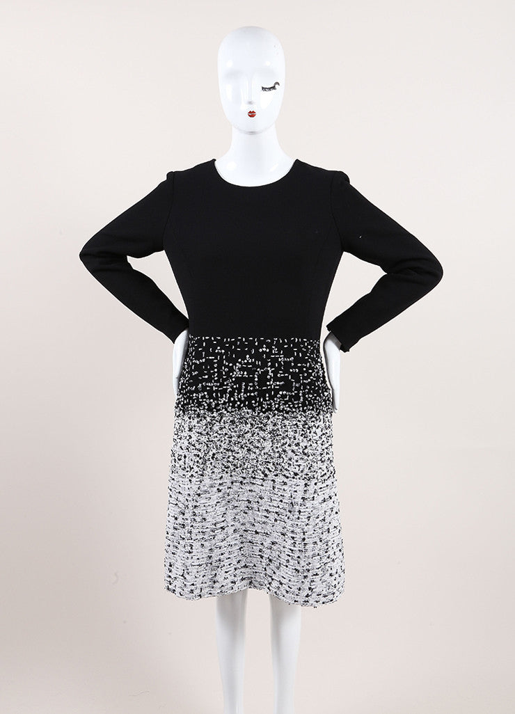 Oscar de la Renta New With Tags Black and White Wool Tweed Ombre Long Sleeve Dress Frontview