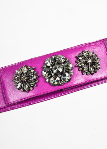 Oscar de la Renta Purple and Gunmetal Grey Rhinestone Gem Trim Leather Belt Detail