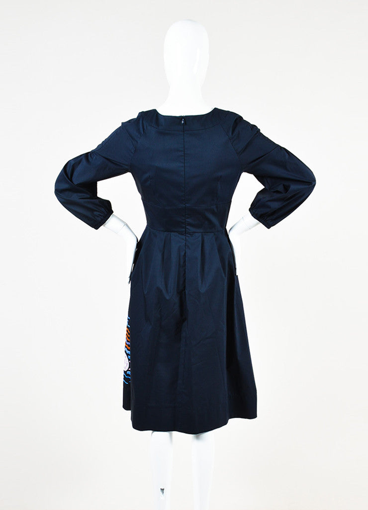 "Peter Pilotto Navy and Orange Embroidered ""Alethia"" Dress Backview"